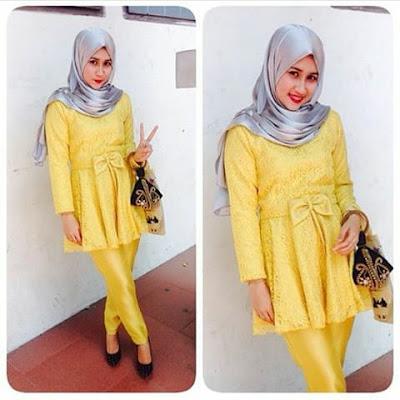 kebaya hijab kuning panjang simple