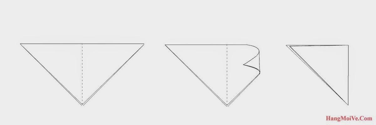 Bước 2: Từ hình 1 ta cũng gấp đôi tờ giấy lại theo chiều từ phải sang trái ta được hình 3.