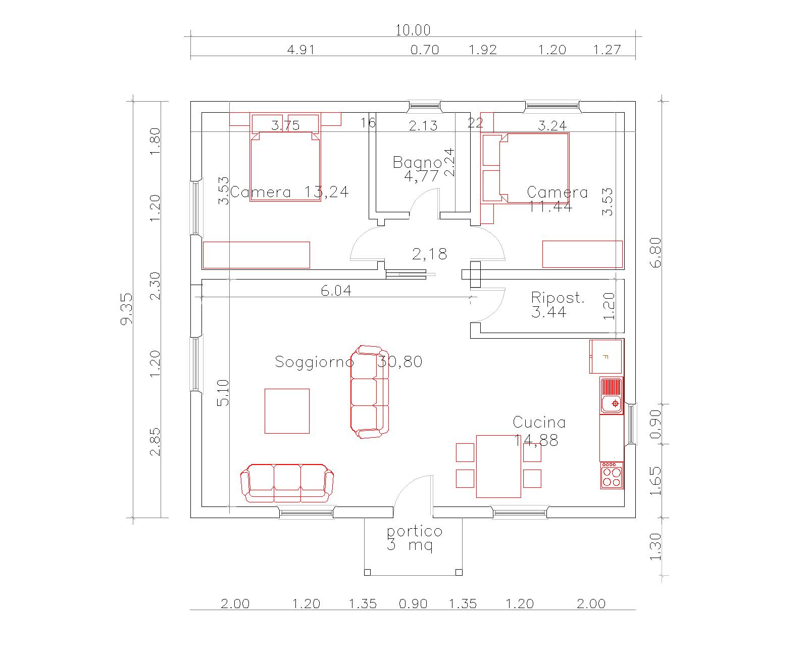 Progetti di case in legno casa 94 mq portico 3 mq for Progetti di portico anteriore