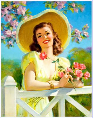 chica retro con sombrero y flores