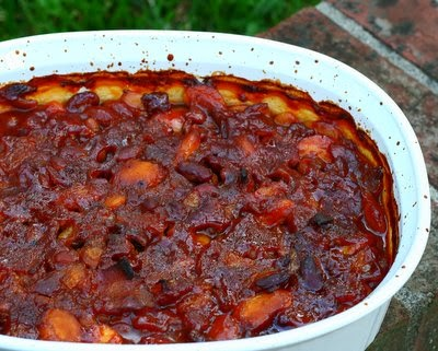 Calico Beans, a hearty bean dish, meaty enough for supper, but more often served as a side dish at potlucks. Also called Cowboy Beans & Roosevelt Beans.