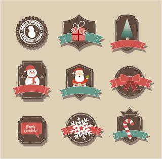 新年とクリスマスに因んだアイコン・素材 Cartoon Christmas badges イラスト素材2