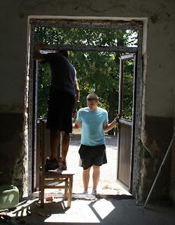 Patio door being fitted