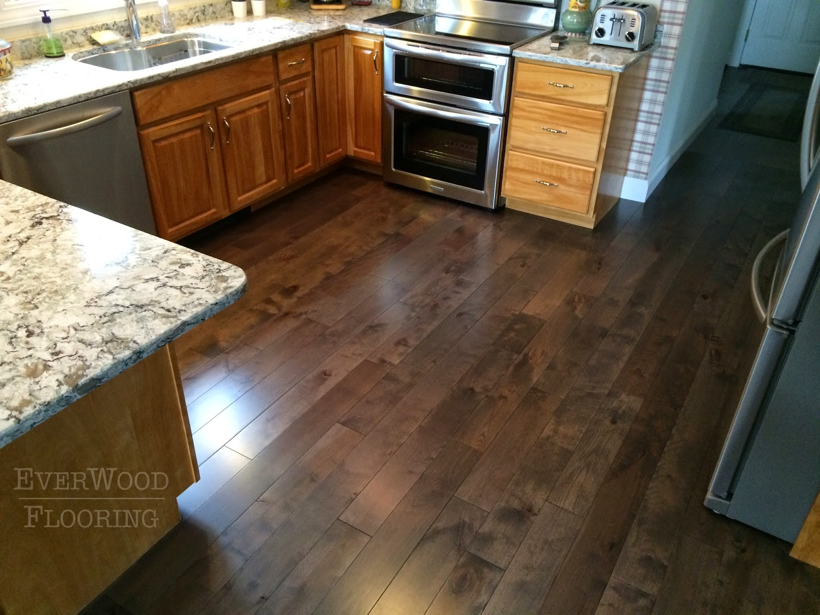 Everwood flooring project profiles prefinished birch wood for Kitchen flooring installation