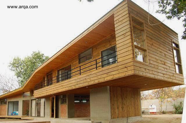 Arquitectura de casas casa contemporanea de madera - Casas de cemento y madera ...