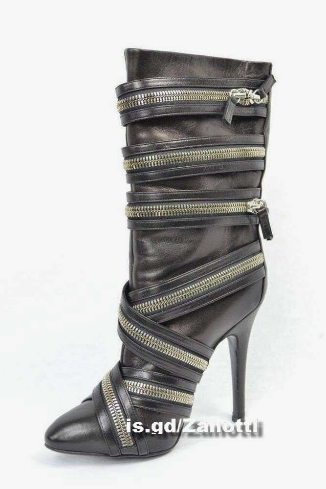 GIUSEPPE ZANOTTI Womens BALMAIN Black Zipper Boot High Heel Bootie Shoe