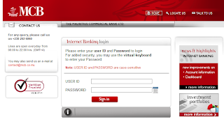 Mauritius Commercial Bank Internet Banking login page