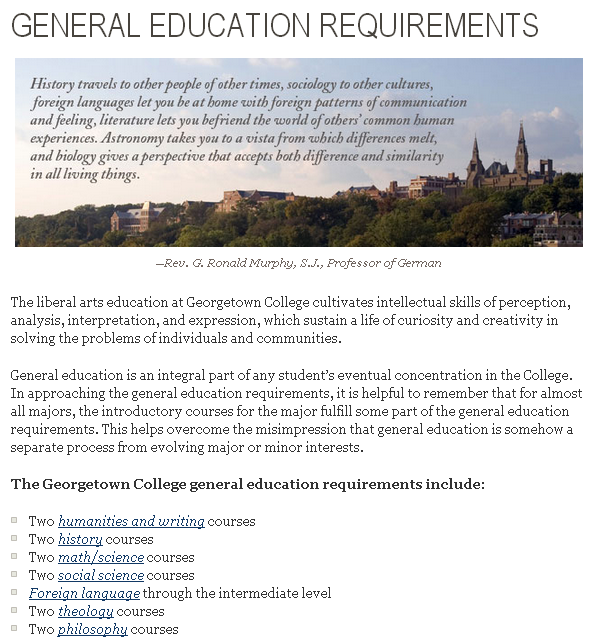 required classes for college Adapted from the college catalog see the college catalog for complete details the college awards the ba or the bs degree to qualified students who are recommended by the faculty in order to qualify for the degree, you must complete the following: the general education requirements (the core) the requirements of a major program.