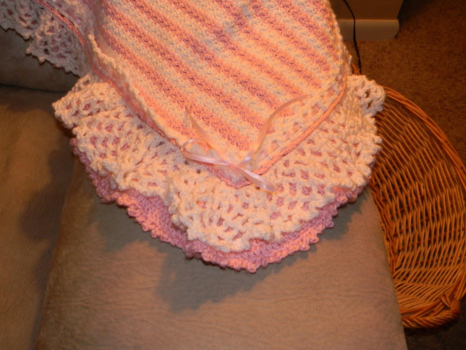 Sassys Crafty Creations Crochet Double Ruffle Baby Girl Blanket