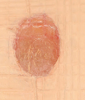 Skin/Flesh (front detail), 1999. oil & mixed media on wood. 91.5 x 28.6 cm