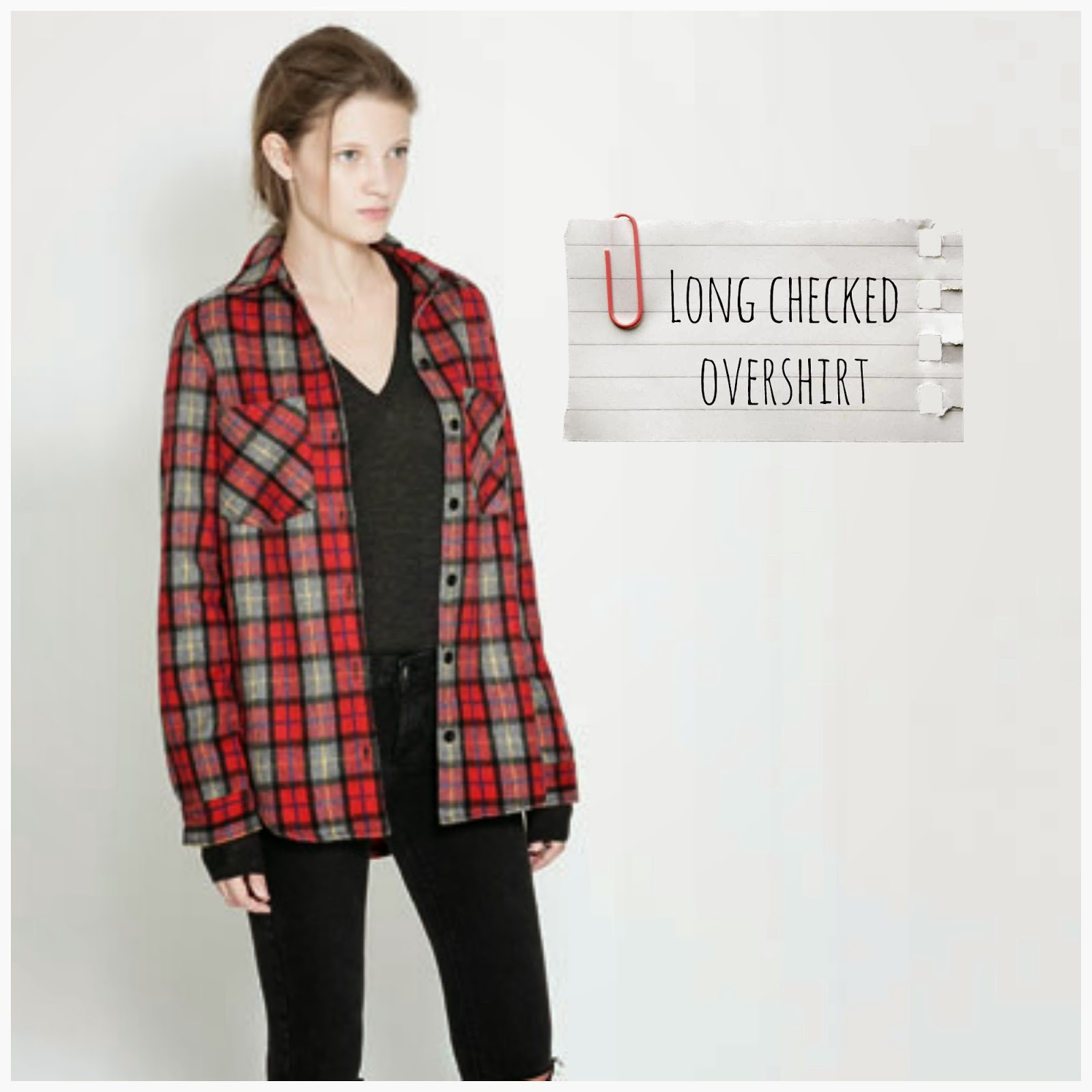 Long Checked Overshirt - Zara