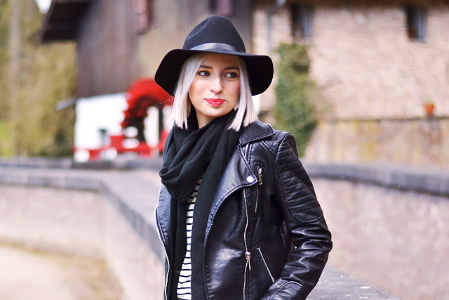 Topshop wool scarf, zara leather jacket, zara striped dress, h&m felt hat, fedora hat