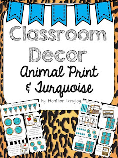 https://www.teacherspayteachers.com/Product/Classroom-Decor-Animal-Print-and-Turquoise-1938218