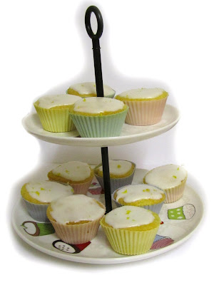 lemon cupcakes on cake stand