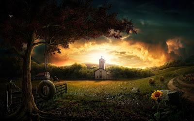 Linda imagem de uma igreja, árvore com balaço, flores e o campo sem humanos.