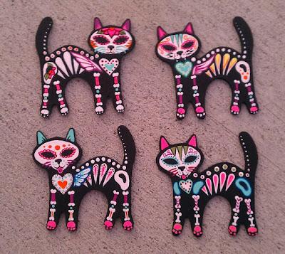 Dia de Los Muertos cat magnets