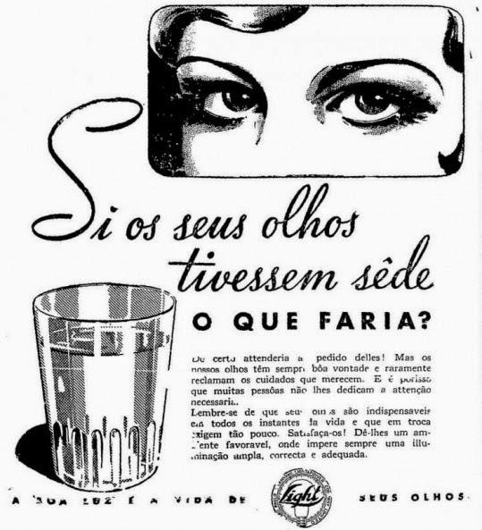 Campanha da Cia. Elétrica Light para promoção de ambientes claros, por meio da energia elétrica em 1939.