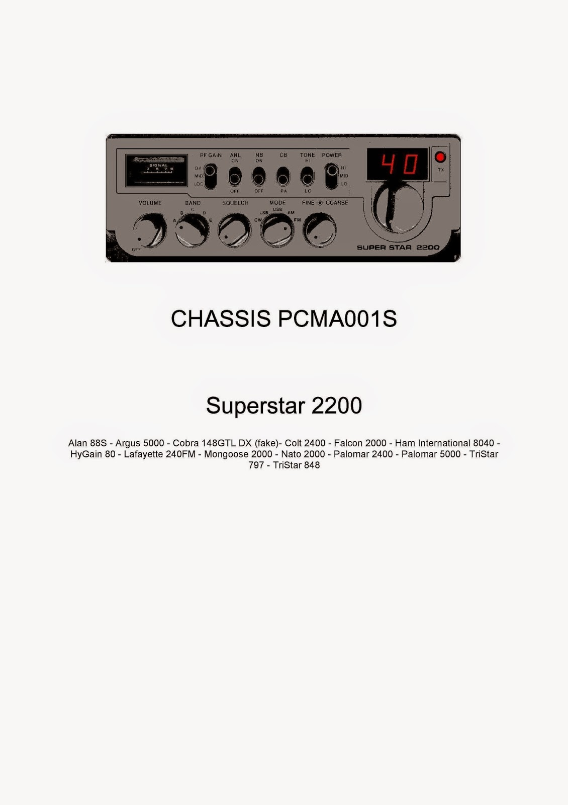 Superstar 2200 service manual pcma001s