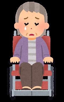 車椅子に乗ったお婆さんの表情イラスト(泣いた顔)