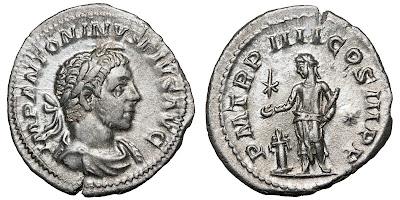 Silver denarius of Elagabalus. P M TR P IIII COS III P P. 221 CE. 19x20mm, 3.00g. RCV (2002) 7536 var; RIC IV 46 var; BMCRE V p.569, 257 var (no beard).