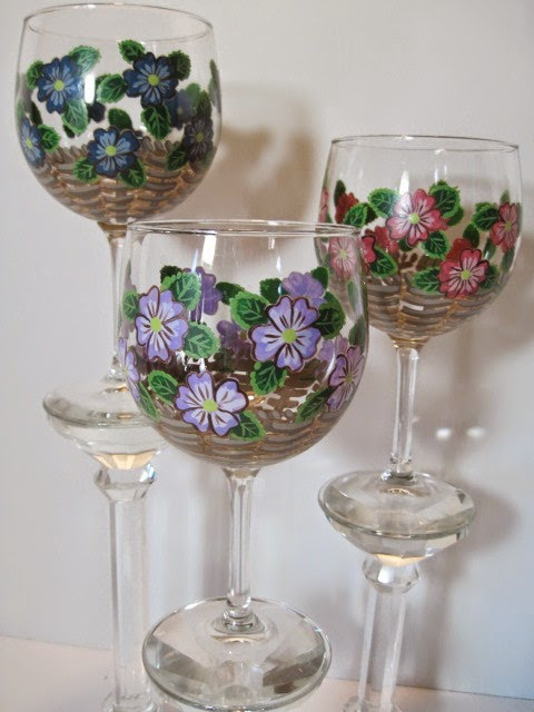 Floral Basket Hand Painted Wine Glasses - Kudos Kitchen by Renee