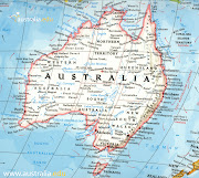 On July 5, 2012 I will depart LAX airport to head down under for three weeks . (map of australia travel print)