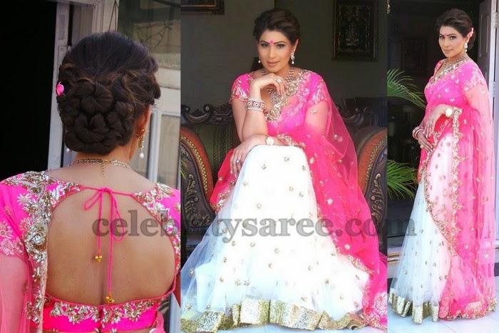 Shreedevi Chowdary White Half Saree