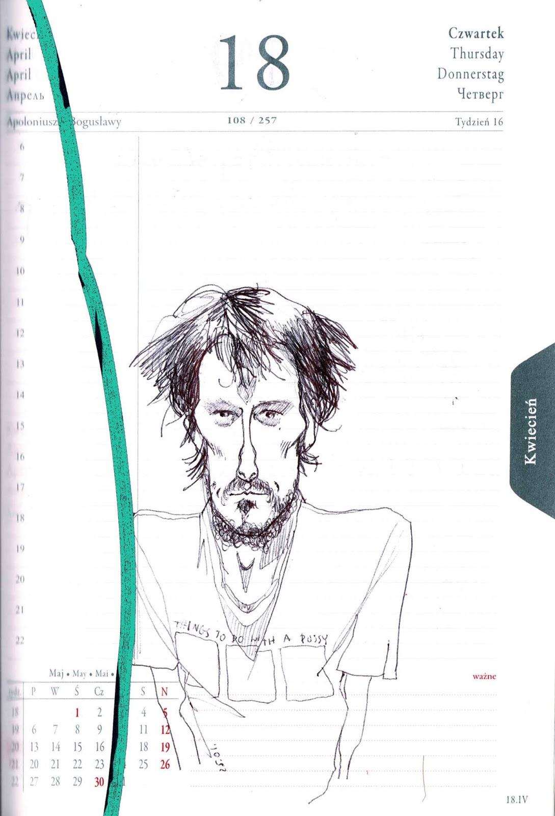 ilustracja karykatura Urbaniak illustration in speed sketch book caricature pen