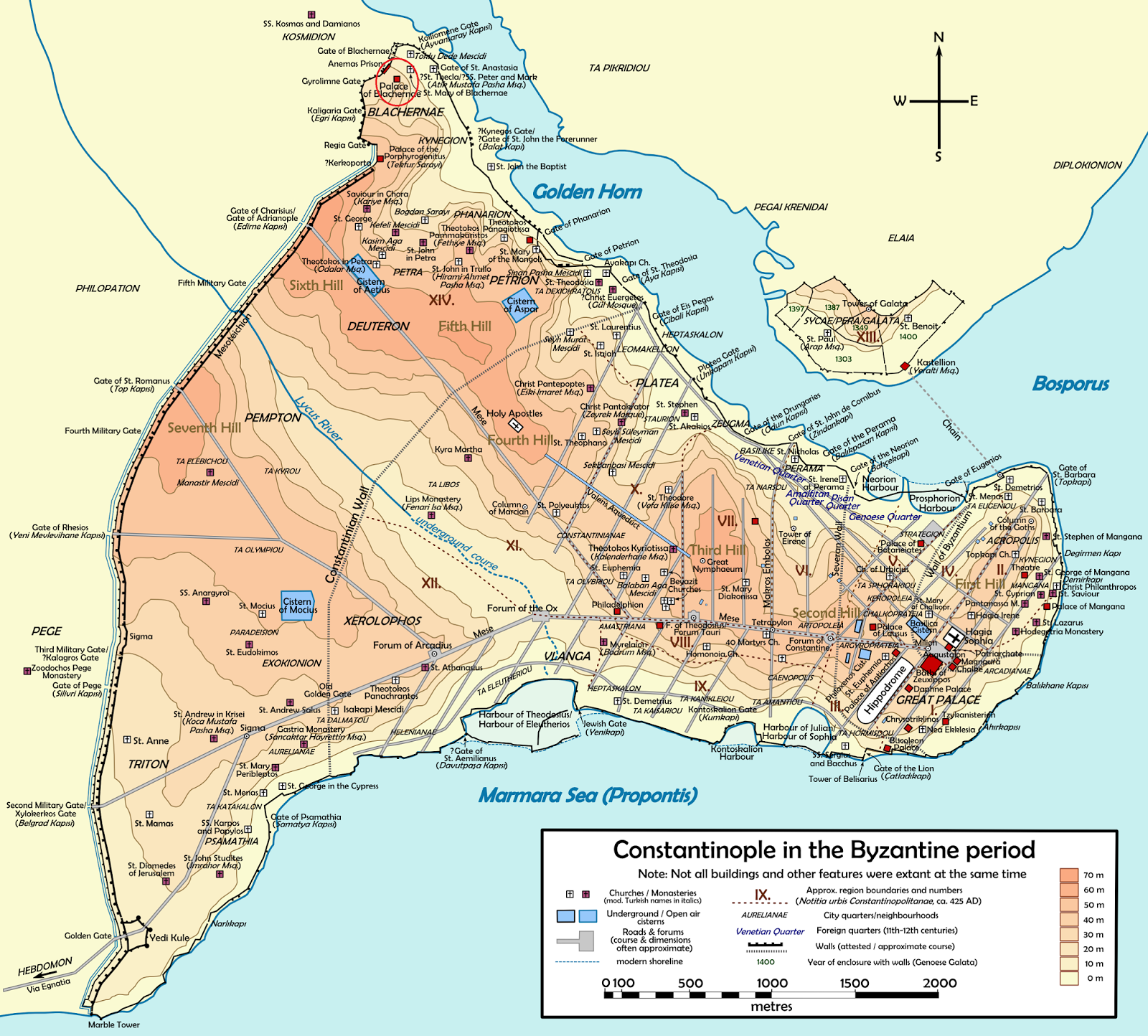 Map of Constantinople in Byzantine Period