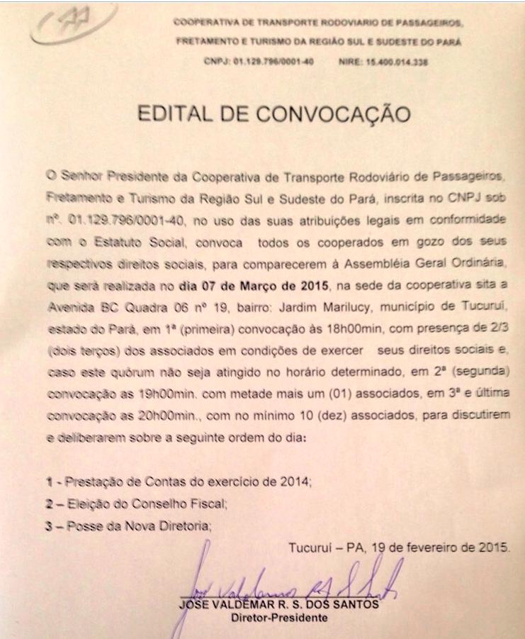 EDITAL DE CONVOCAÇÃO DA COMASPA