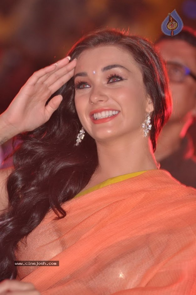 Amy Jackson in orange transparent saree - (6) -  Amy Jackson in Orange Transparent Saree at event