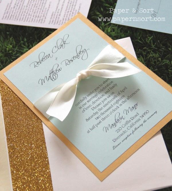 mint ivory gold invitation with golden glitter liner envelope