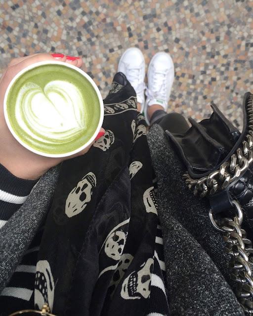kitsune cafe, maison kitsune, matcha latte, maison kitsune paris