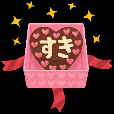 箱に入った本命チョコのイラスト