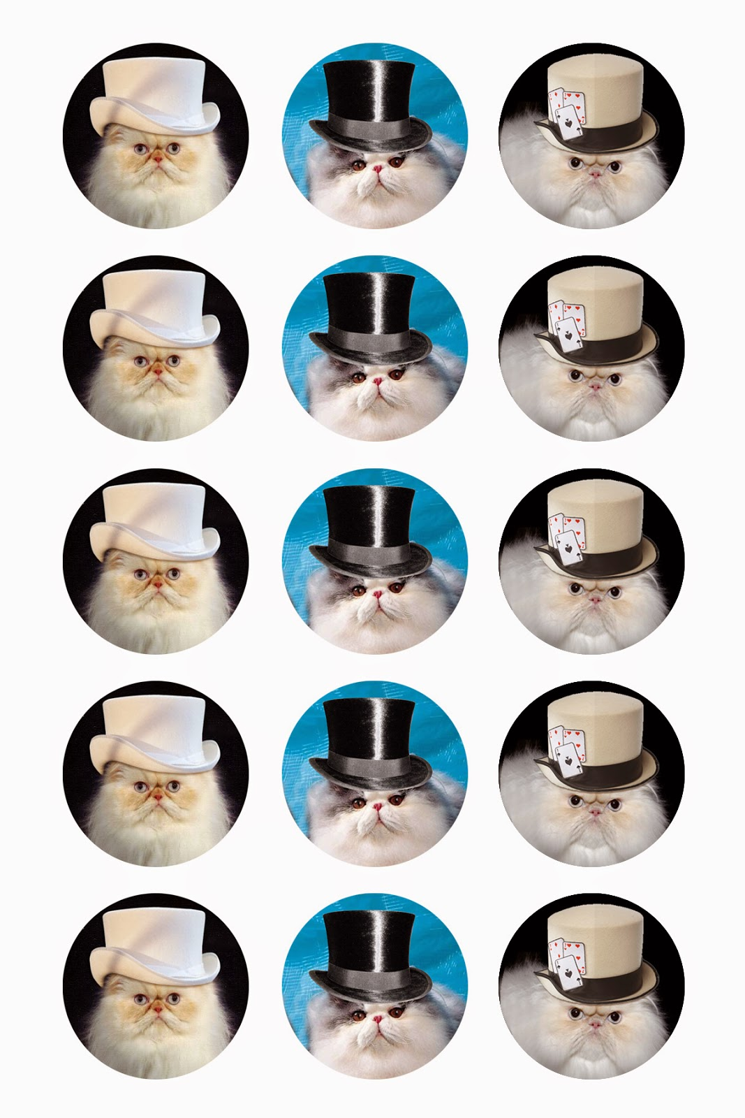 Cat in Hats Digital Collage Sheet
