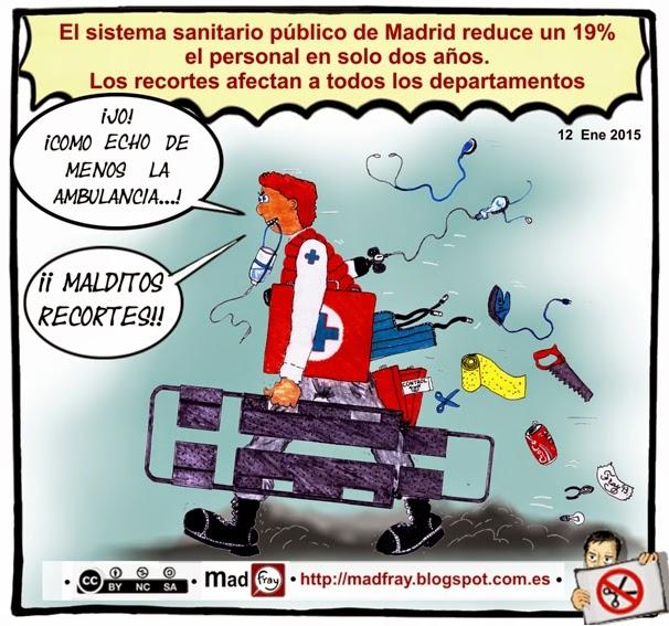 Viñeta, Recortes en la sanidad de la Comunidad de Madrid reduce un 19% el personal en solo dos años. Los recortes afectan a todos los departamentos