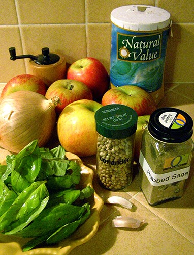 Basil, Apples, Garlic, Apples, and Spices