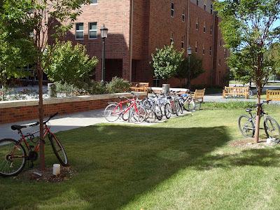 Bikes on Campus, University of Arkansas, not enough racks, Maple Hill