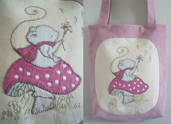 handmade bag with little mouse applique based on kit chase's illustration