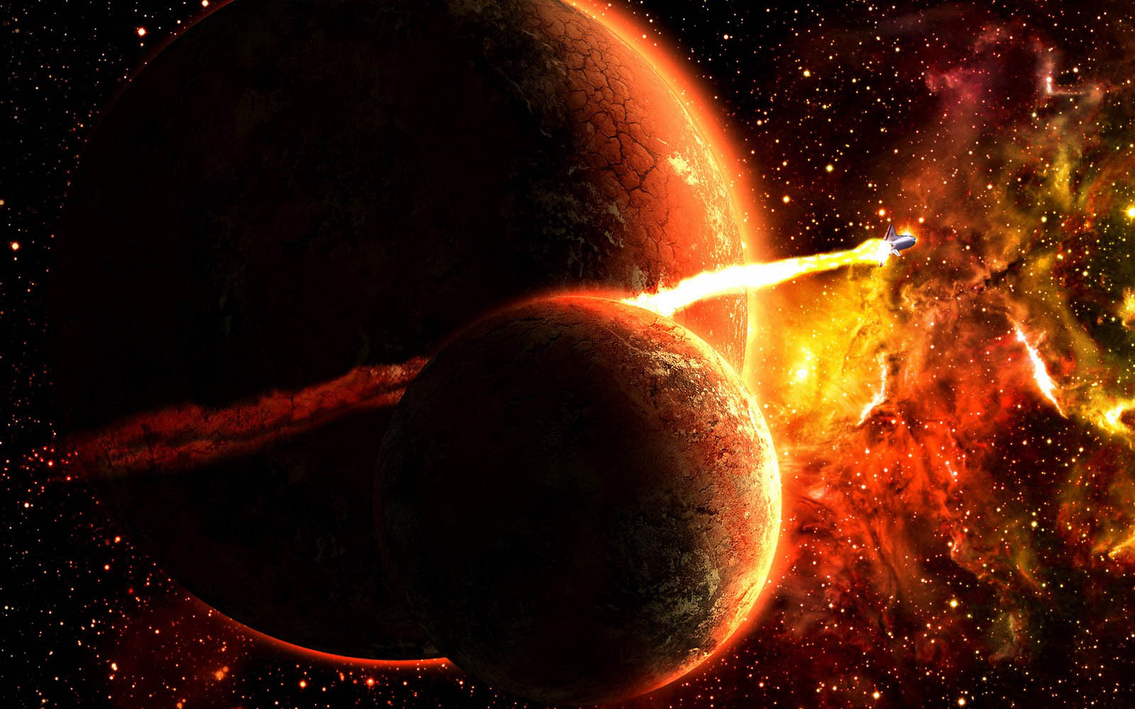 Wallpapers fire in space wallpapers for 3d outer space