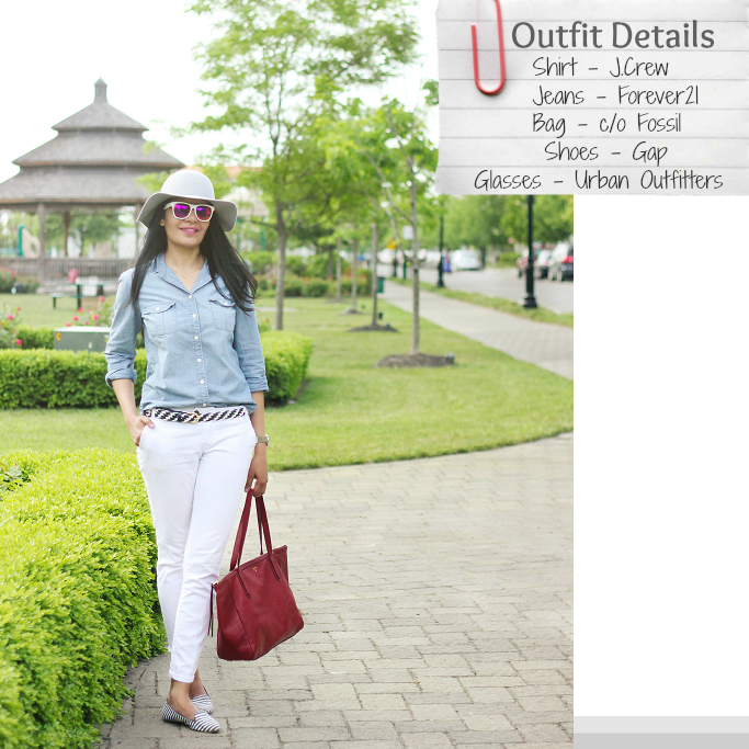 How to wear chambray shirt, White jeans outfits, denim on denim outfits, how to style denim shirt