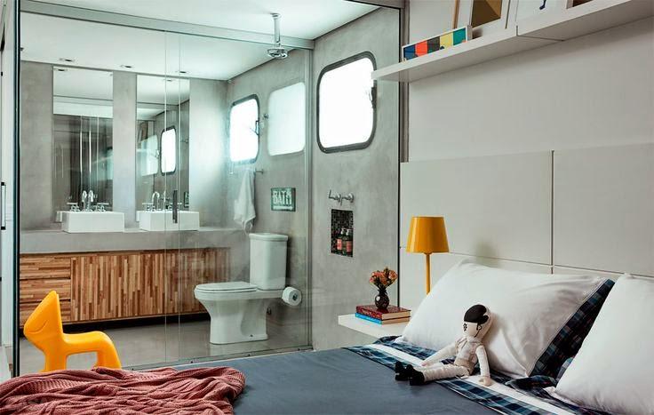 Quartos e banheiros integrados  Casinha colorida -> Quarto Com Banheiro Pequeno Integrado