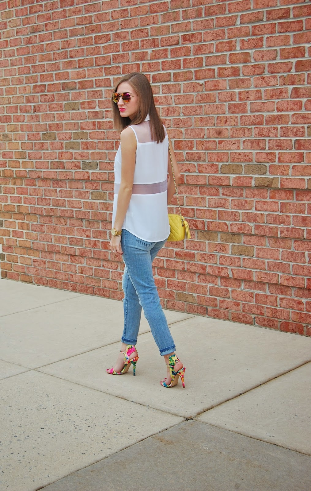 Wearing Express Organza Inset Sleeveless Portofino Shirt, STS Blue from Nordstrom destroyed boyfriend jeans, Mix No 6 cameo multi color sandal, Rebecca Minkoff yellow flirty studded crossbody