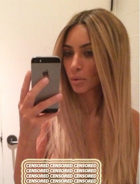 Kim took her selfie on a bathroom mirror
