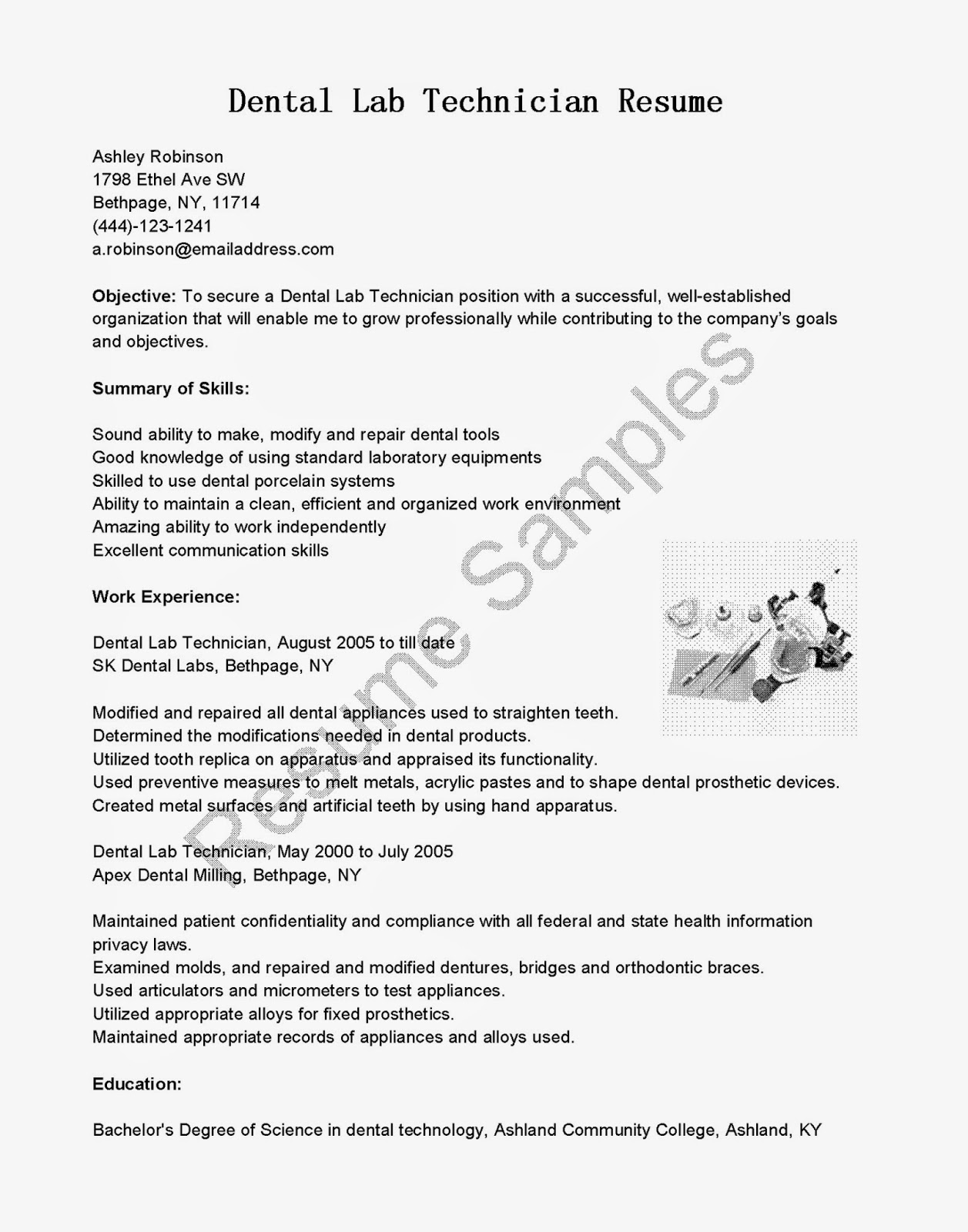 lab technician cover letter samples