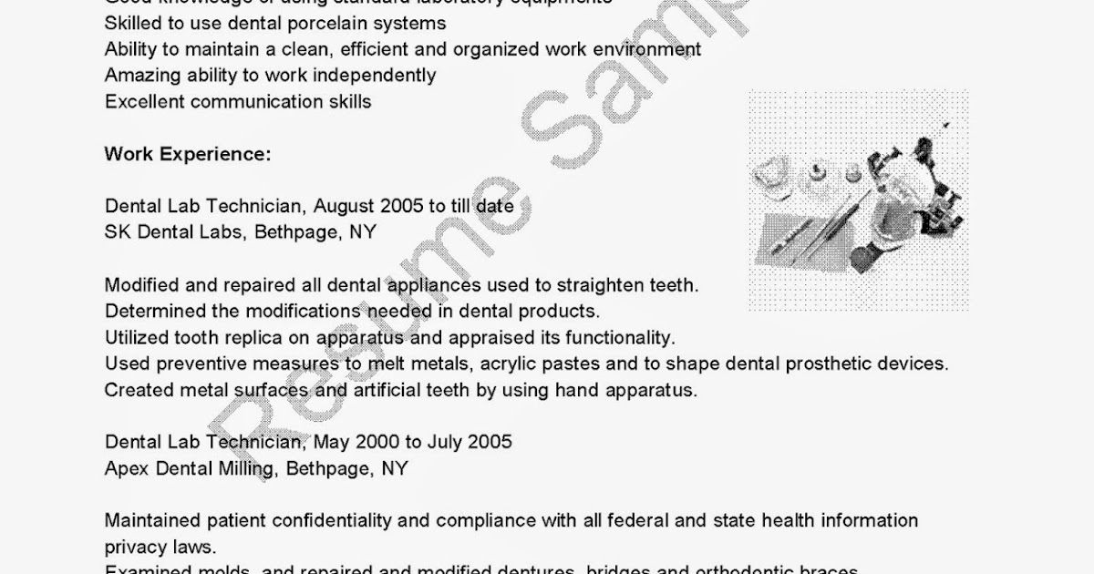 Lab Technician Resume Template  Dental Technician Resume