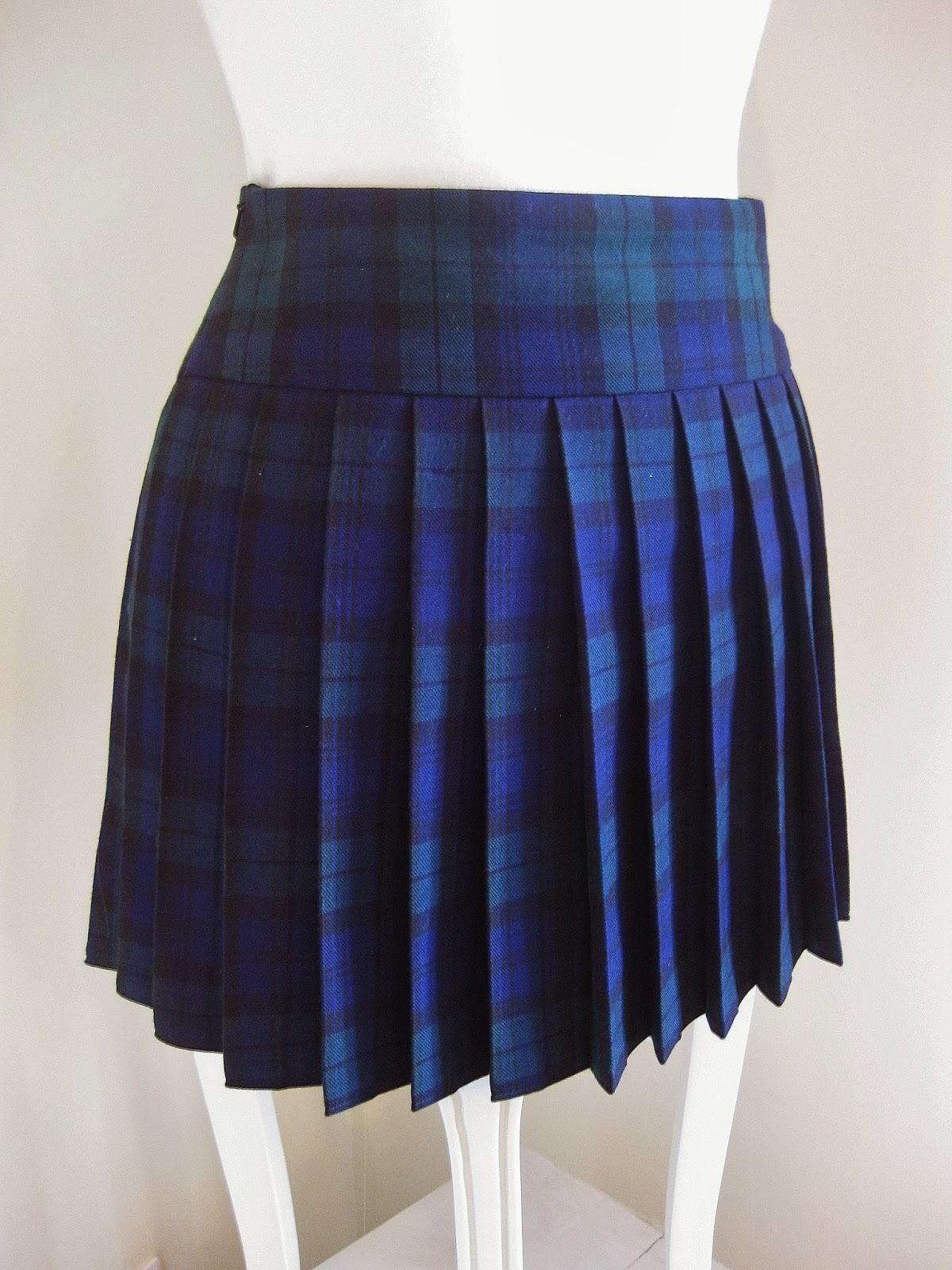seam by seam pleated tartan mini skirt