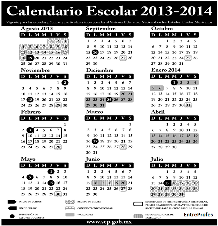 Calendario escolar 2014 Ciclo escolar SEP