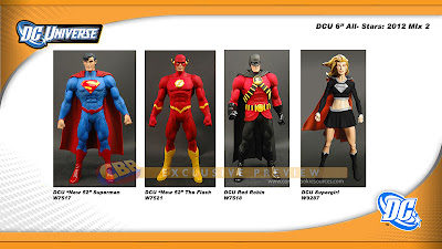 "DC Universe All Stars Series 2 by Mattel - ""New 52"" Superman, ""New 52"" The Flash, Red Robin & ""Evil"" Supergirl Action Figures"