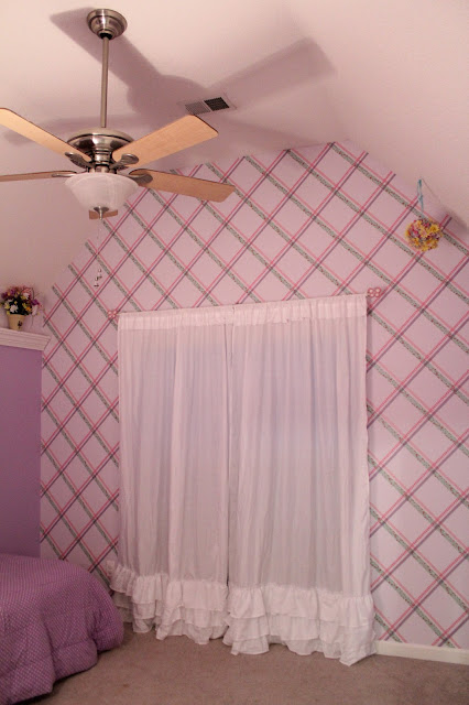 Lavender room with washi tape wall pattern looks like wallpaper